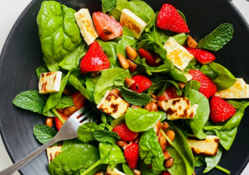 Strawberry and Halloumi Salad with Mint, Sumac, and Pine Nuts